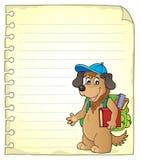 Notepadsida med skolahunden Royaltyfria Bilder