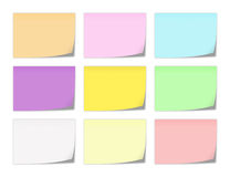 Notepaper. Collection of memo notepapers in various colors Stock Images