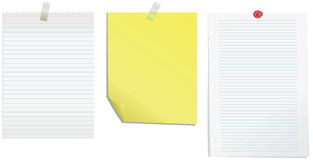 Notepaper. Two lined notepapers and one yellow notepaper with sticky tape and push pin Royalty Free Stock Photography