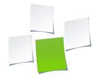 Notepaper. Four blank note papers one is stand out concept Royalty Free Stock Photography
