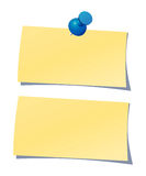 Notepaper. Two note papers on isolated background with pin Royalty Free Stock Image