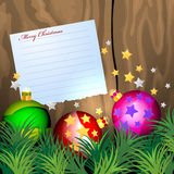 Notepaper with Christmas balls Royalty Free Stock Images