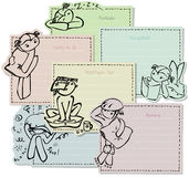 Notepaper with doodles set Stock Photo