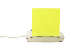 Notepaper and mouse. Concept of email Stock Photography