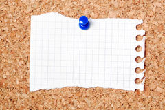Notepaper on noticeboard. Blank scrap of notepaper pinned to cork noticeboard Stock Images