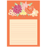 Notepaper page with floral background Stock Images