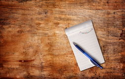 Notepaper. With pen,top view Royalty Free Stock Images