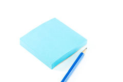 Notepaper,pencil on white background. Stock Images