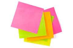 Notepaper postit. Some color adhesive-message on a white background Stock Image