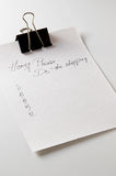 Notepaper For Shopping List stock photos