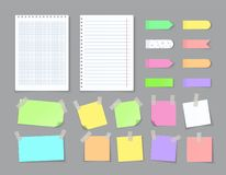 Free Notepaper With Adhesive Tape. Blank Stickers With Ripped Edges Lined With Grids, Colored Notebook Pages. Vector Isolated Royalty Free Stock Images - 162838409
