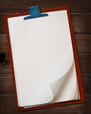 Notepaper on wooden table. Stock Photo