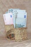 Euroen i korgen. Fotografering för Bildbyråer