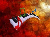 Noterar krabb tangentbordmusik för piano bakgrund Illustratio för Grunge 3D Arkivbilder