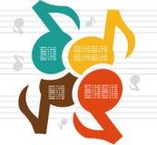 Noterar musik färgar bakgrund Royaltyfri Bild