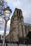 Noterdam de Paris i streetlight Obraz Stock