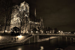 Noterdam in paris at night, sepia Stock Image