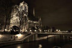 Noterdam in paris at night, sepia Stock Image