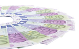 Notes 100 and 500. Euros on a white background Royalty Free Stock Photo