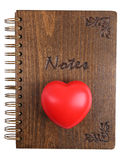 Notes. Wooden notes book with red heart Royalty Free Stock Photos