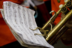 Notes. A partiture with the instrument of orchestra Royalty Free Stock Image