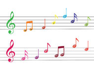 Notes. Two groups of notes with clefs, with additional .eps format Royalty Free Stock Image