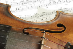 Notes. Detail from an old violine on a note sheet Royalty Free Stock Photos