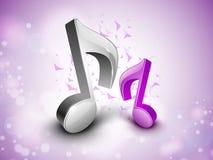 notes 3D musicales sur le fond brillant. illustration stock