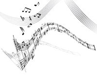 Notes. Music background with different notes on the white stock illustration