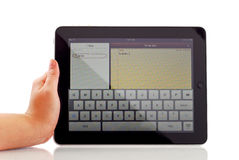 Notes Application on Apple iPad. With Female Hand Stock Photos