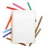 Notes avec des marqueurs Photographie stock libre de droits