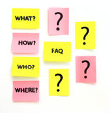 Notes avec les questions et le FAQ Photo libre de droits