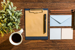 Notes and black coffee Royalty Free Stock Photo
