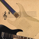 Notes and black electric rock guitar and back of guitar body on rough cardboard background. Stock Images