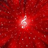 Notes blanches radiales de musique à l'arrière-plan rouge illustration de vecteur