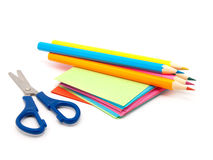 Notes block, scissors and pencils Stock Images