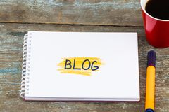 Notes about blog,concept. Social Media Connecting Blog Communication Content Concept Stock Images