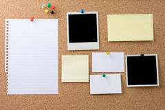 Notes on bulletin board stock images