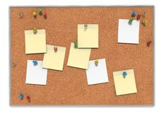 Notes on bulletin board Stock Photography