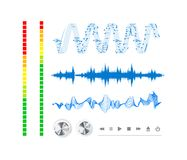 Notes, buttons and sound waves. Royalty Free Stock Photos