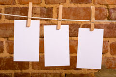 Notes on a Clothesline Stock Photo