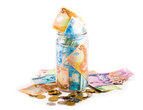 Notes and coins in New Zealand currency Royalty Free Stock Image