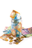 Notes and coins in New Zealand currency Royalty Free Stock Photos
