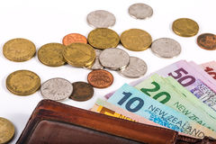 Notes and coins in New Zealand currency Stock Photography
