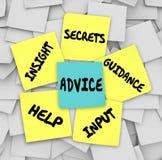 Notes collantes de conseils d'aide d'analyse de secrets de conseil Image libre de droits