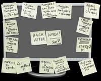 Notes collantes femelles de l'écran W de PC Photographie stock libre de droits