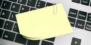 Notes collantes jaunes sur le fond d'ordinateur portable illustration 3D illustration libre de droits