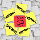 Notes collantes pour faire la liste tout tâches accablantes Image libre de droits