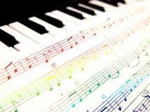 Notes in color. Colorful music notes with keyboard background Stock Images