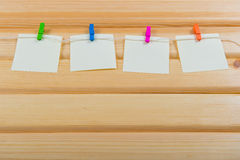Notes on color clothespin Stock Photography